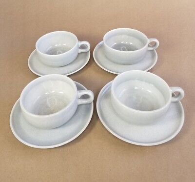 4 Russel Wright American Modern Flat Cup and Saucer Coffee Tea Set Grey MCM Rare