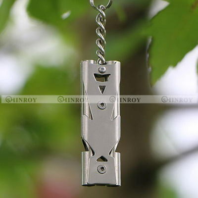 150DB Stainless Steel Outdoor Emergency Survival Whistle Keychain SOS Whistle