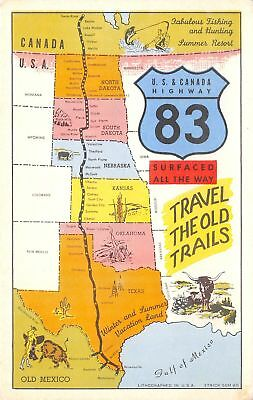 US & Canada Highway 83 Map Postcard~Travel Old Cattle Trail~ND to Texas~1950s