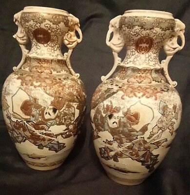 Extraordinary Pair Of Antique Satsuma Vases 6480 Picclick