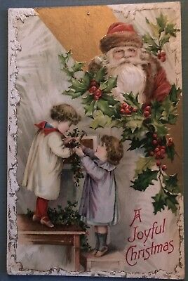 Santa Claus Watches Children Decorate With Holly ~ Winsch Christmas Postcard-g79