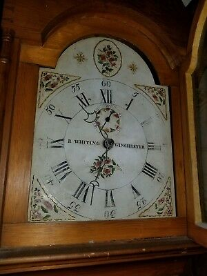 Antique grandfather clock (R Whiting Winchester) **with pendulum &weights**