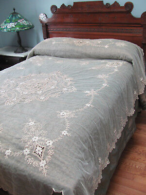 EDWARDIAN-1920s *FRENCH TAMBOUR LACE BED COVERLET w/Match DRESSER SCARVES* Excnt