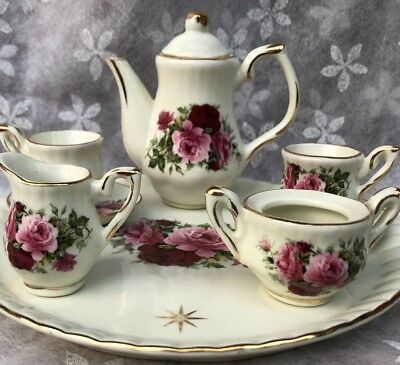 Tea Set Child Doll Minature Set Red And Pink Roses Porcelain 7 Pieces