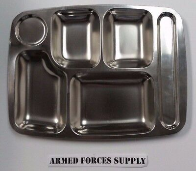Stainless Metal Military Mess Hall Chow Cafeteria Jail School Prison Food Tray