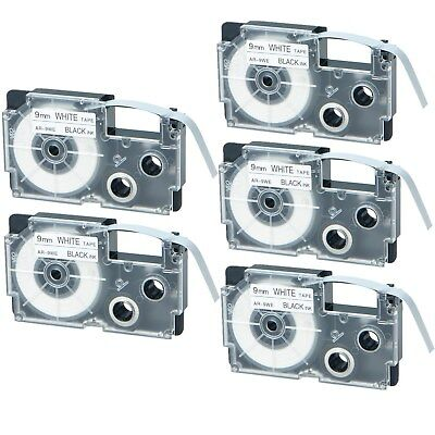"5PK Compatible Casio XR-9WE Black on White Label Tape for EZ KL-7200 3/8"" 9mm"