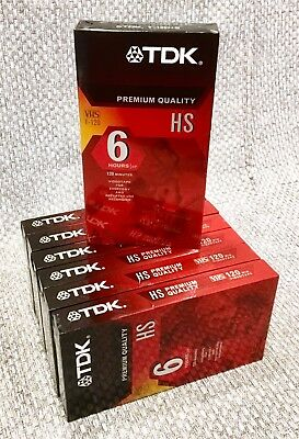 TDK Blank VHS Video Tape T-120 Premium Quality HS Individually Sealed 7 Pack