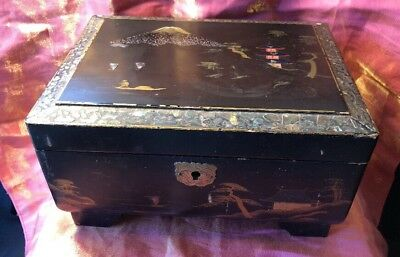 Vintage A&C Mother of Pearl inlaid hand painted musical Jewellery Trinket Box