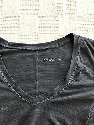 Zella Ruched Short Sleeve Large Blue-Gray Top