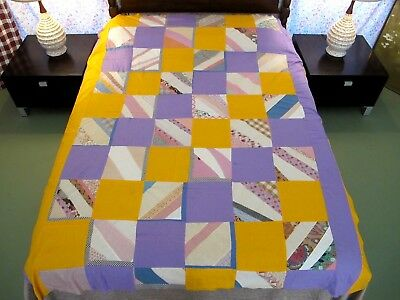 """Vintage Feed Sack, Shirting Cotton Machine Pieced STRING Quilt TOP; 82"""" x 66"""""""