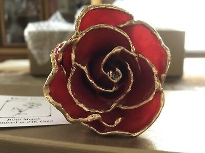 Gold Plated Real RED Rose 24K Dipped Flower  Gift of Love