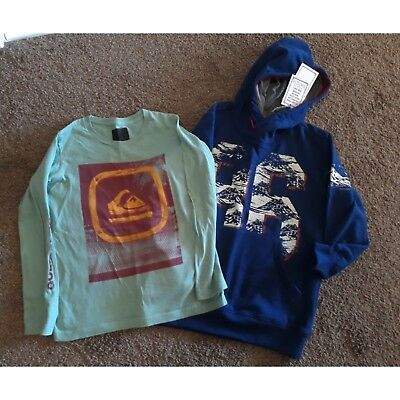 Boys size 8 Hoodie, Quiksilver top and 2 pairs of jeans