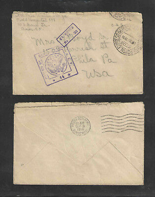 1918 Us Ww I Cover Soldiers Mail Passed Censor Aef # 14 + Examined By No 22