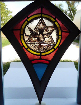 Antique Victorian Church Stained Glass Window Architectural Salvage 1872 Dove