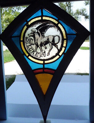 Antique Victorian Church Stained Glass Window Architectural Salvage 1872 St Luke