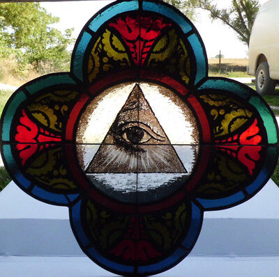 Antique Victorian Church Stained Glass Window Architectural Salvage 1872 W125