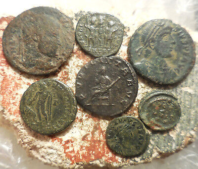 Lot of 7 Very Nice Ancient Roman Coins, Largest 25 mm, Easy to ID!
