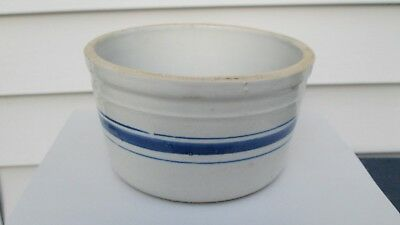Vintage Blue Striped Butter Crock - Sam Rystad Briardale Store Linn Grove Iowa