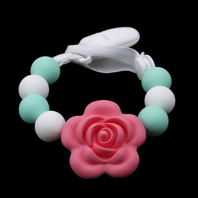 Baby Rose Flower Silicone Teether Pacifier Clip Nipple Teething Toy Leash Toys