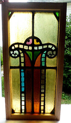 Antique Vtg Church Stained Glass Window Architectural Salvage Art Deco Arch W101