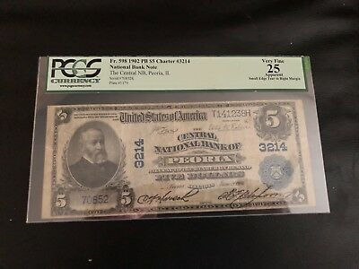 $5 1902 Pb Central National Bank Of Peoria, Il Ch# 3214, Pcgs 25 Apparent