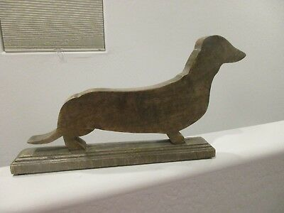 """Dachshund Dog Shaped Wood Carved Figure with Stand NEW 16"""" long"""