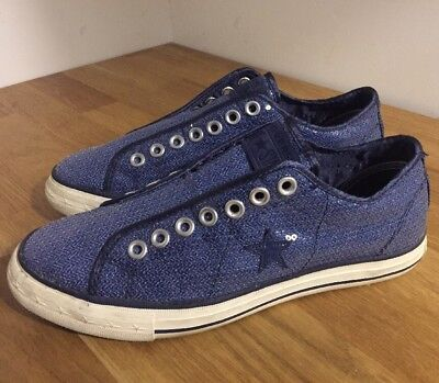 Converse One Star Blue Sequin Sneakers Shoes Women's 9.5 M Low Top Slip On