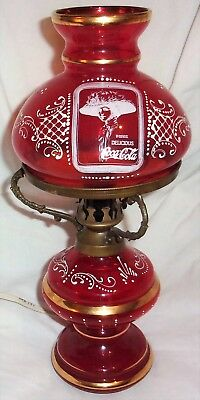 Unique Rare Vintage Coca-Cola Ruby Red Glass Hurricane Style Coke Lamp with AND