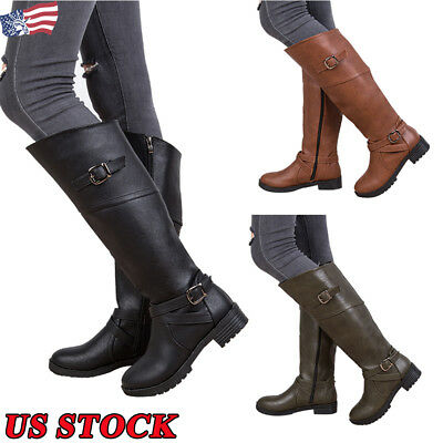 5b5b6da87b2 US Sexy Women s Leather Buckle Boots Low High Heel Shoes Ladies Motorcycle  Boots