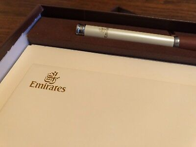 New Emirates 1st Class Writing Kit, Pen Paper Envelope + Writing Pad First Class