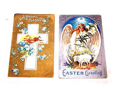 Vintage 1900's Two 2 Easter Christian Greeting Postcard Lot Pair VG Jesus Ofr