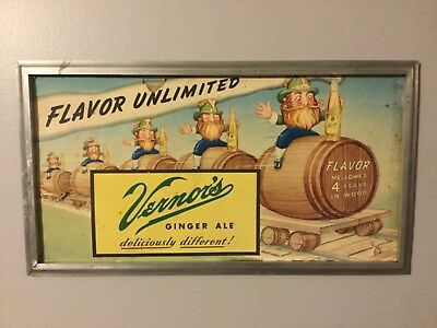 Original Vintage Vernors Ginger Ale Sign Soda Pop Advertising Detroit Mi rare