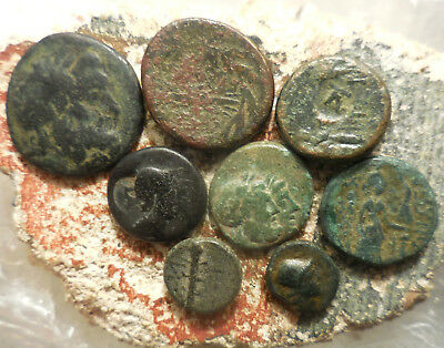 Lot of 8 Very Nice Ancient Greek Coins, Largest 22.5 mm, Detailed so Easy to ID!