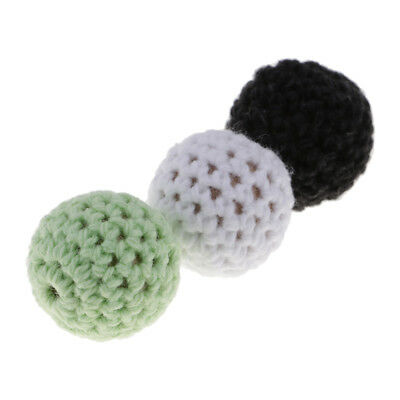 10 Pcs Thread Crochet Covered Wood Beads Ball For Making Jewelry Baby Teething
