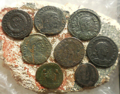 Lot of 8 Very Nice Ancient Roman Coins, Largest 19 mm, Easy to ID!
