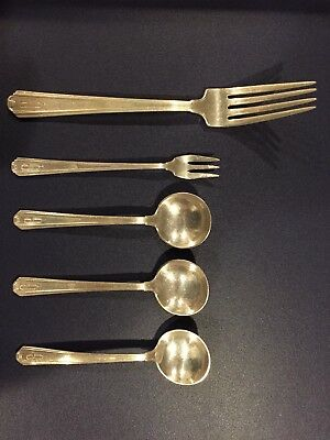 ANTIQUE STERLING SILVER or SILVERPLATE silverware not sure lot of 5