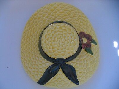 Vintage Thomas Ceramics Yellow Straw Hat Wall Pocket Planter