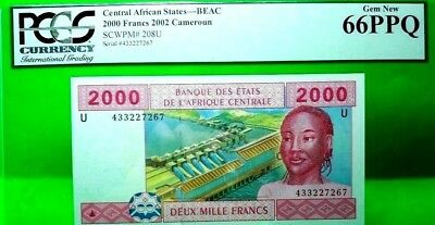 Money Cameroun 2000 Francs 2012 Central African States Beac Gem Unc Pick #208U