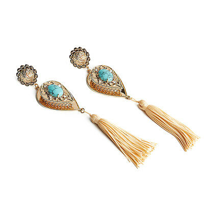 NEW SAMANTHA WILLS Nightfall Lustre Large Drop Earrings Gold Turquoise Tag Pouch