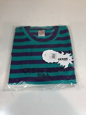 f11bdc0b89a Guess Jeans Sean Wotherspoon Farmers Market Striped T-Shirt Purple Teal M