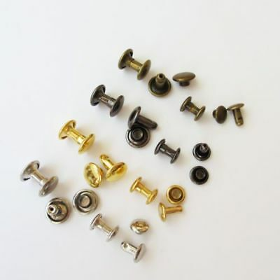 Metal Double Round Cap Tubular Rapid Rivet Spike Stud for Leather Belt Bag Decor