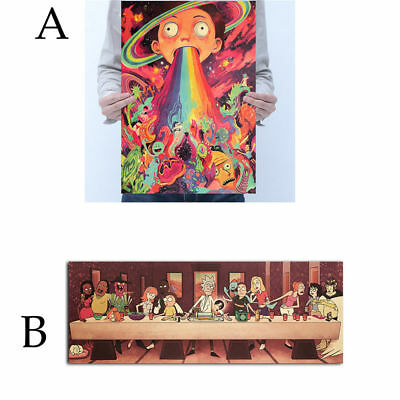 Anime Rick And Morty The Last Supper Kraft paper Poster Cafe Decoration RN