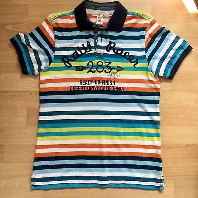 H&M Boys Multi Coloured Stripes Polo Shirt, Age 12-14 Years
