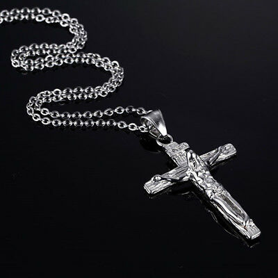 Men Male Fashion Jewelry Stainless Steel Jesus Cross Pendant Necklace Chain Gift