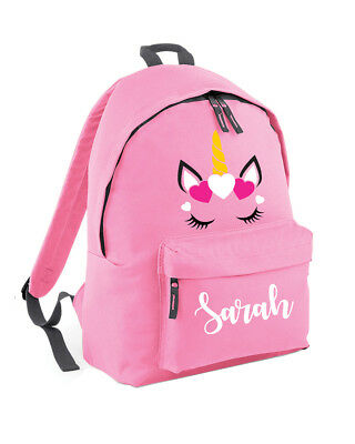 Personalised Unicorn Backpack For Girls Boys School Cute Teenager Kids Pink L293