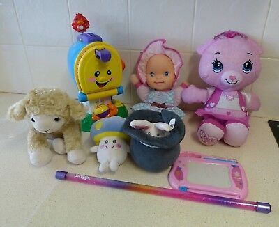 Bulk Baby Toddler Toys (8) -Talking, Singing, Plush, Drawing, Music Box- F-P Etc