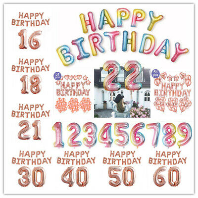 Rose Gold 16/18/21st/30/40/50/60th Foil Number Happy Birthday Balloon Decoration