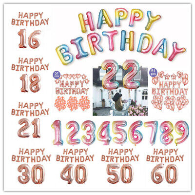 Rose Gold 16/18/21st/30/40/50/60th Foil Number Happy Birthday Balloons Decor RLT