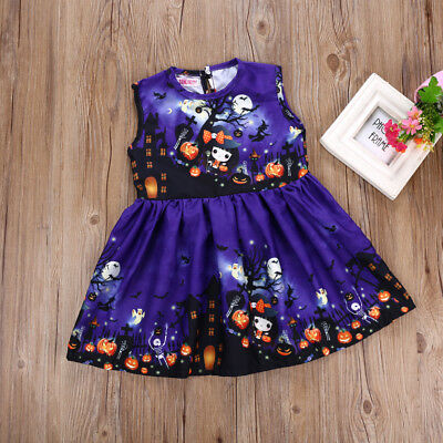 US Halloween Toddler Kids Baby Girl Princess Cartoon Graffiti Vest Dress Clothes