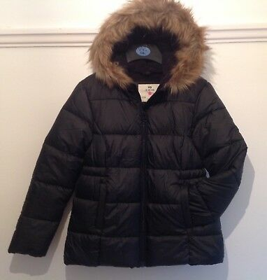 Girls Black Quilted Back To School Coat 7-13 Years Bnwot Free Postage